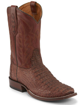 Tony Lama Men's Cognac Hornback Caiman Boots - Square Toe , Black, hi-res
