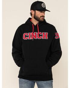 Cinch Men's Black Logo Fleece Hooded Sweatshirt , Black, hi-res