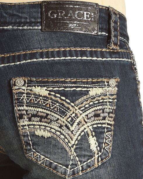 Grace in LA Women's Junior Boot Embellished Pocket Jeans - Boot Cut, Indigo, hi-res