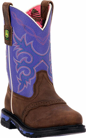 John Deere Girls' Johnny Popper Purple Western Boots - Round Toe, Dark Brown, hi-res