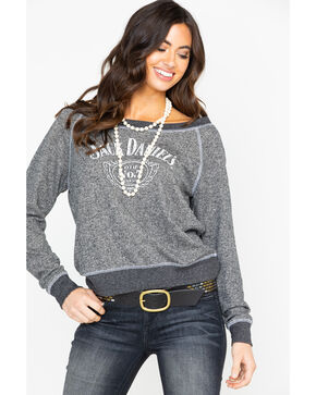 Jack Daniels Women's NO.7 French Terry Pullover Shirt , Charcoal, hi-res