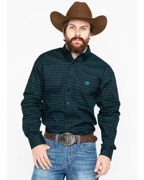 Panhandle Men's Peached Poplin Long Sleeve Western Shirt, Green, hi-res