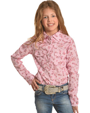 Shyanne Girls' Floral Printed Long Sleeve Western Shirt , Pink, hi-res