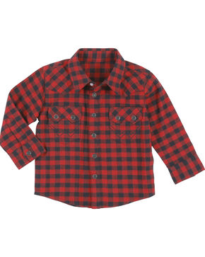 Wrangler Infant Boys' Red Buffalo Plaid Flannel Shirt , Red, hi-res