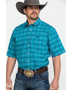 84c63eb3 Cinch Mens Teal Med Plaid Short Sleeve Western Shirt , Teal, hi-res