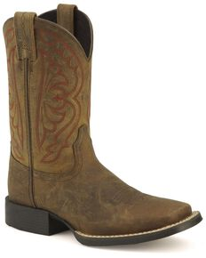Ariat Youth Boys' Quickdraw Cowboy Boots - Square Toe, Distressed, hi-res