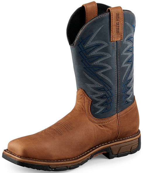 Irish Setter by Red Wing Shoes Men's Navy Blue Marshall Work Boots - Soft Square Toe , Brown, hi-res