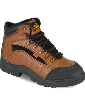 "Thorogood Men's I-MET2 4"" Plain Toe Hiker Work Boots - Steel Toe, Brown, hi-res"