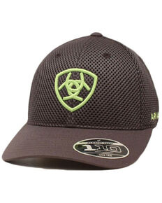 Ariat Men's Grey Mesh Embroidered Logo Flex-Fit Ball Cap , Grey, hi-res