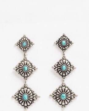 Shyanne Women's Bella Triple Diamond Concho Earrings, Silver, hi-res