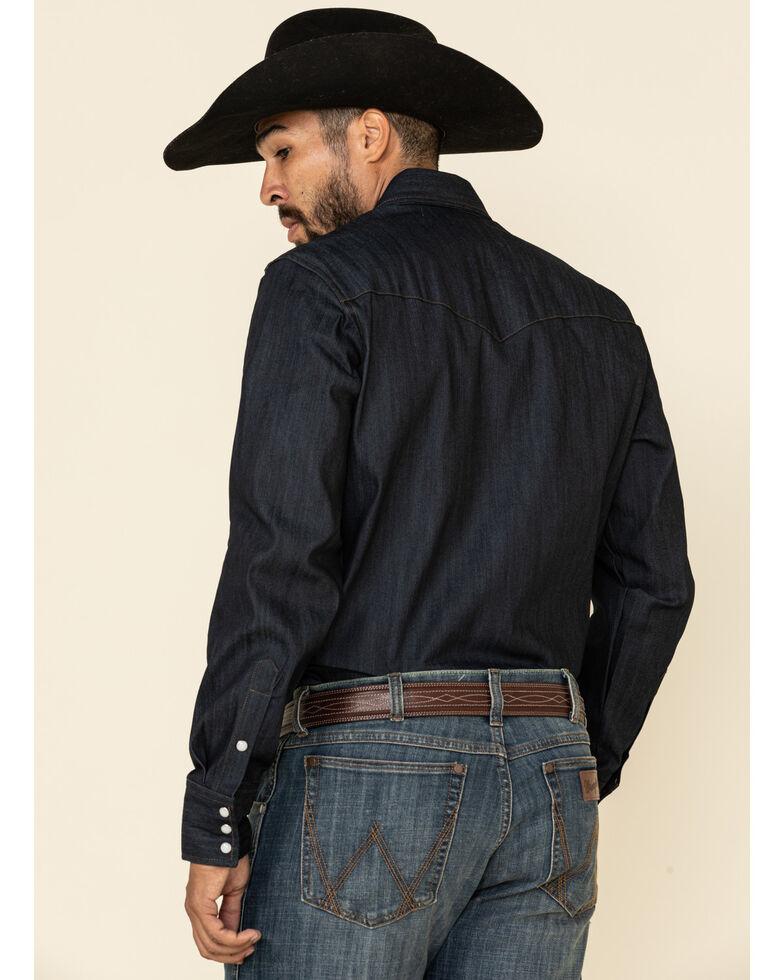 Wrangler Men's Advanced Comfort Stretch Denim Long Sleeve Work Shirt , Denim, hi-res