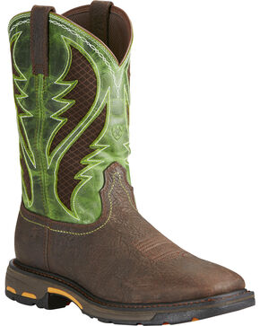 Ariat Men's Brown Workhog Work Boots - Composite Toe , Brown, hi-res