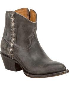Lucchese Women's Chloe Geometric Overlay Western Booties - Round Toe, Black, hi-res