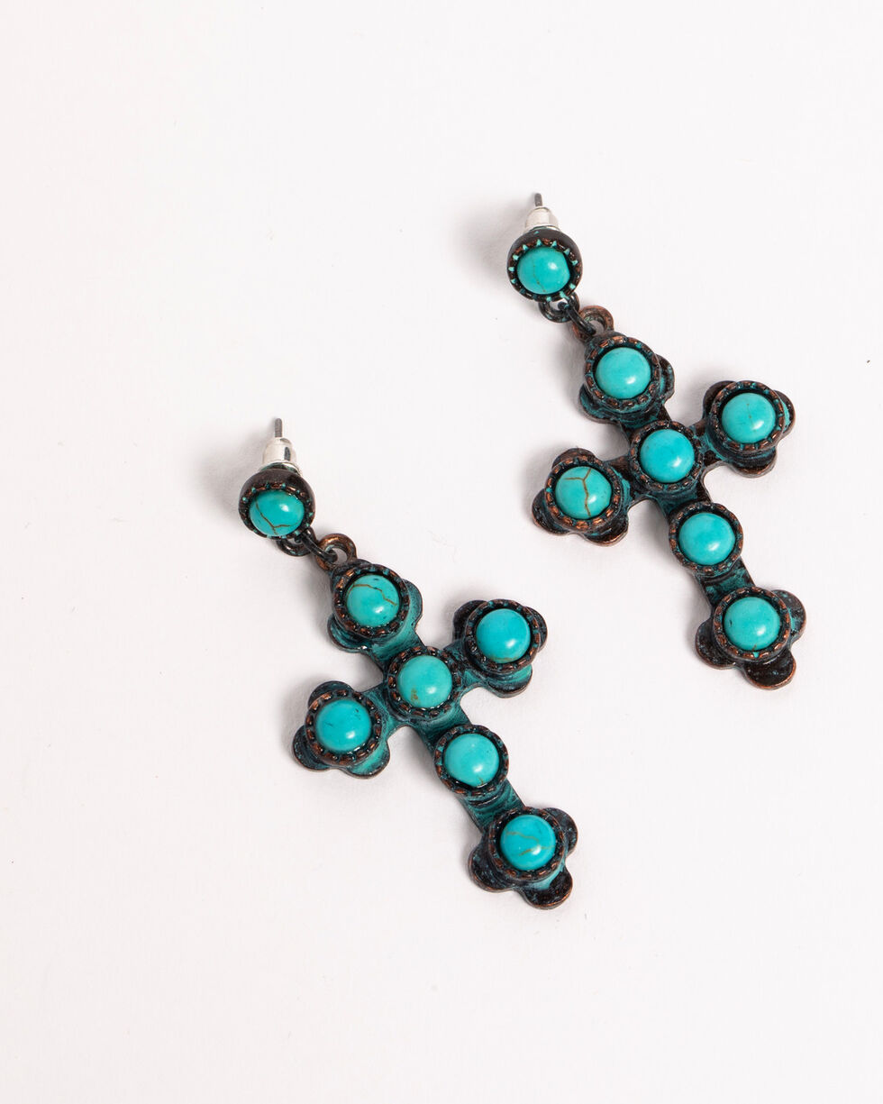 Shyanne Women's Turquoise Bead Cross Earrings, Turquoise, hi-res
