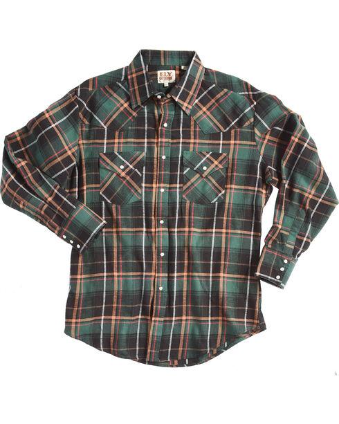 Ely Cattleman Men's Green Western Flannel Shirt , Green, hi-res