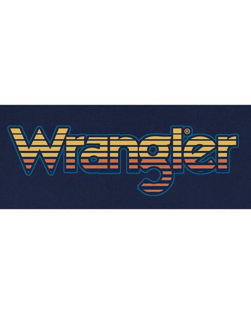 Wrangler Men's Retro Word Mark Long Sleeve Tee, Navy, hi-res