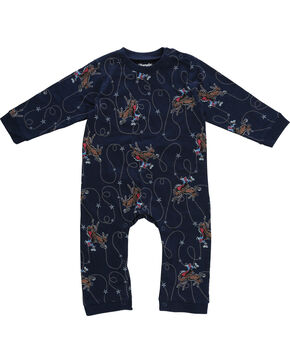 Wrangler Infant Boys' Navy Lasso Print Onesie , Navy, hi-res