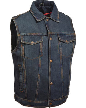Milwaukee Leather Men's Snap Front Denim Vest w/ Shirt Collar- Big - 5X, Blue, hi-res