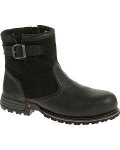 Caterpillar Women's Black Jace Waterproof Work Boots - Steel Toe , Black, hi-res