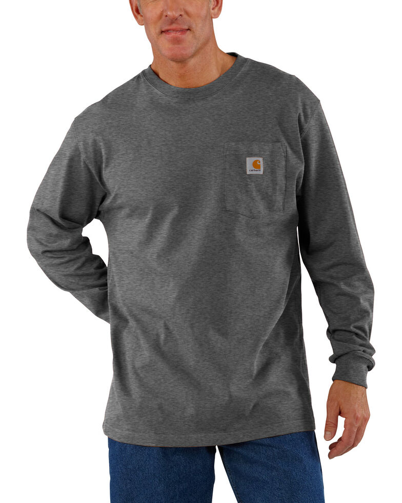 Carhartt Long Sleeve Pocket Work Shirt - Tall, Medium Grey, hi-res