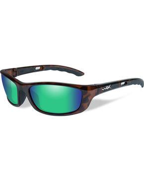 Wiley X P-17 Polarized Emerald Green Gloss Demi Sunglasses , Brown, hi-res