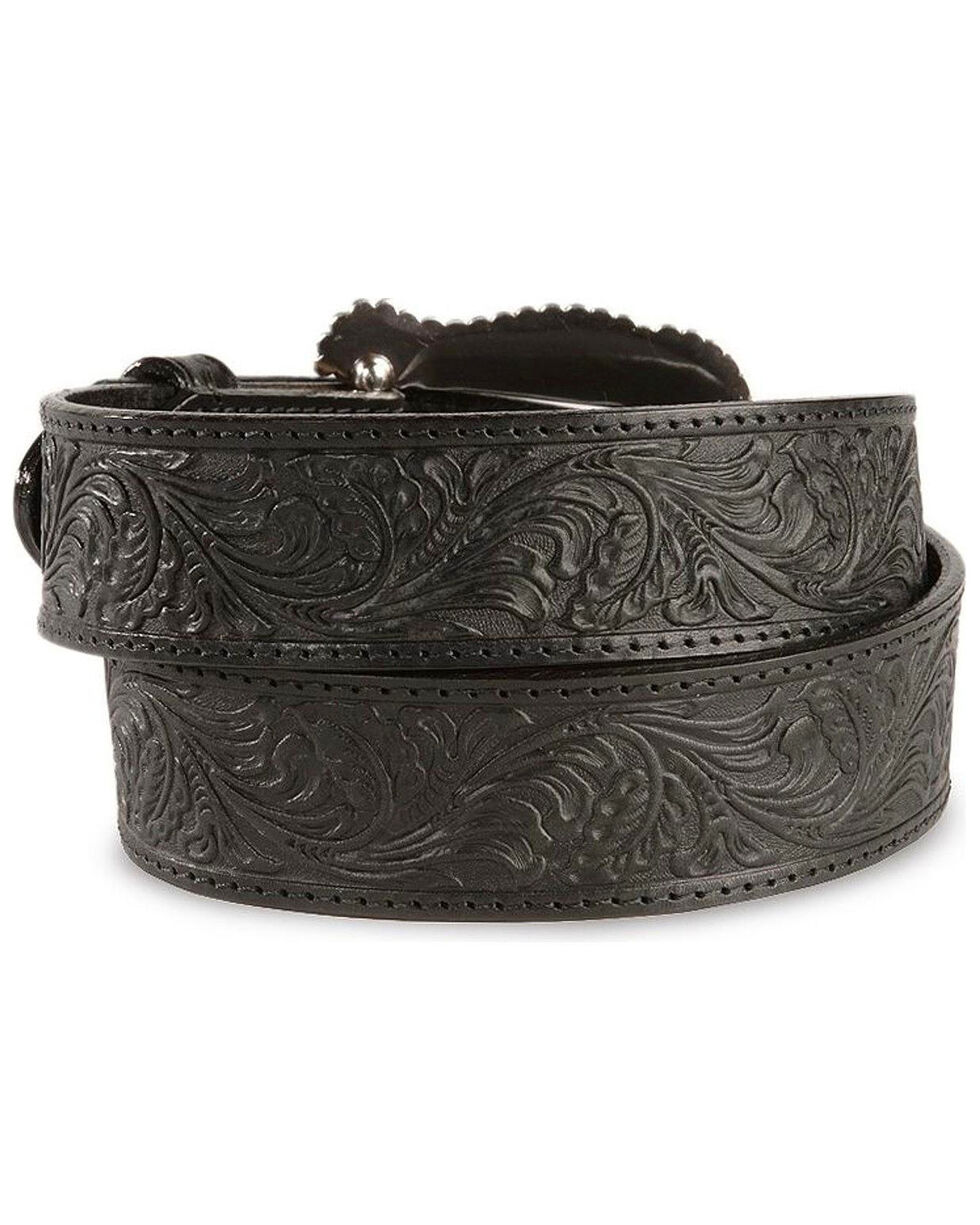 Tony Lama Black Layla Leather Belt, Black, hi-res