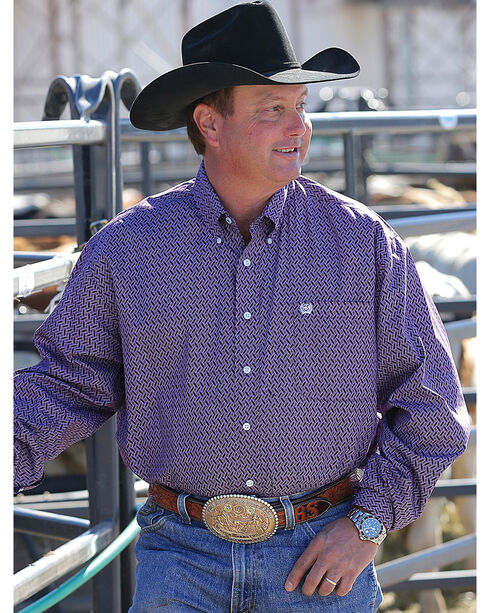 Cinch Men's Basketweave Geo Print Long Sleeve Button Down Shirt, Purple, hi-res