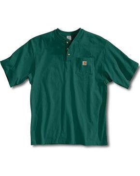Carhartt Short Sleeve Henley Work Shirt, Green, hi-res