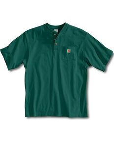 Carhartt Short Sleeve Henley Work Shirt - Big & Tall, Hunter Green, hi-res