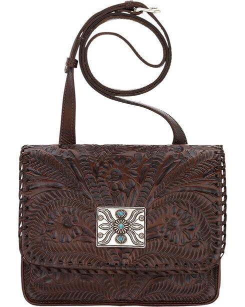 American West Brown Grand Prairie Crossbody Flap Bag , Brown, hi-res