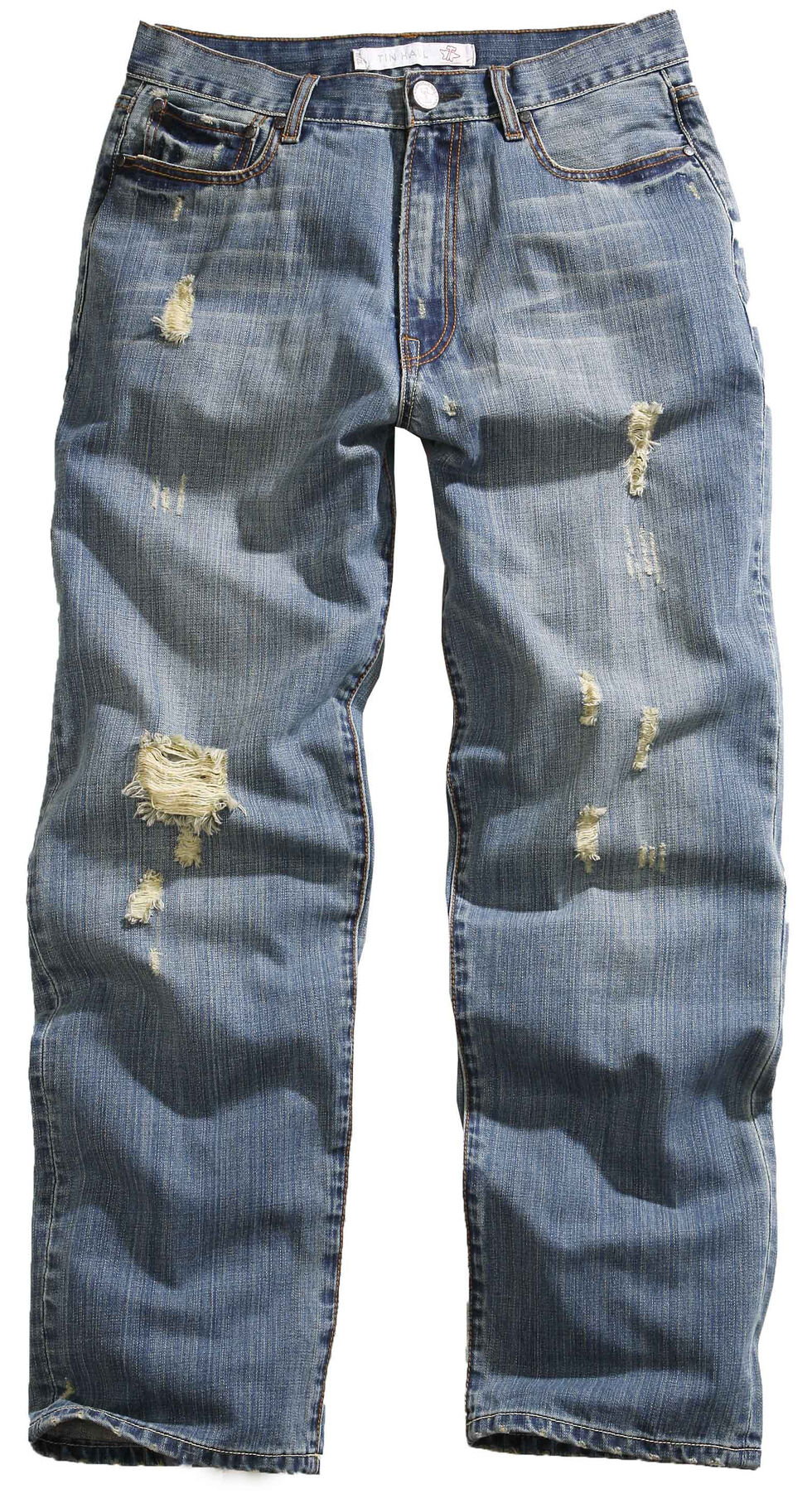 Tin Haul Men's Hoss Heavy Destruction Loose Fit Straight Leg Jeans, Denim, hi-res