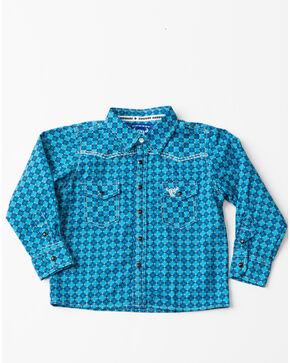 Cowboy Hardware Toddler Boys' Circle Print Woven Long Sleeve Western Shirt , Blue, hi-res