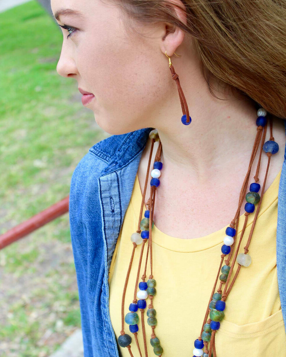 """2 Queen B's Women's Blue 42"""" Fearless Woman Necklace , Multi, hi-res"""