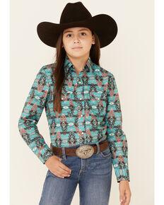 Panhandle Girls' Teal Aztec Print Long Sleeve Snap Western Shirt, Turquoise, hi-res