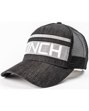 Cinch Men's Grey Stripe Logo Denim Trucker Cap, Black, hi-res