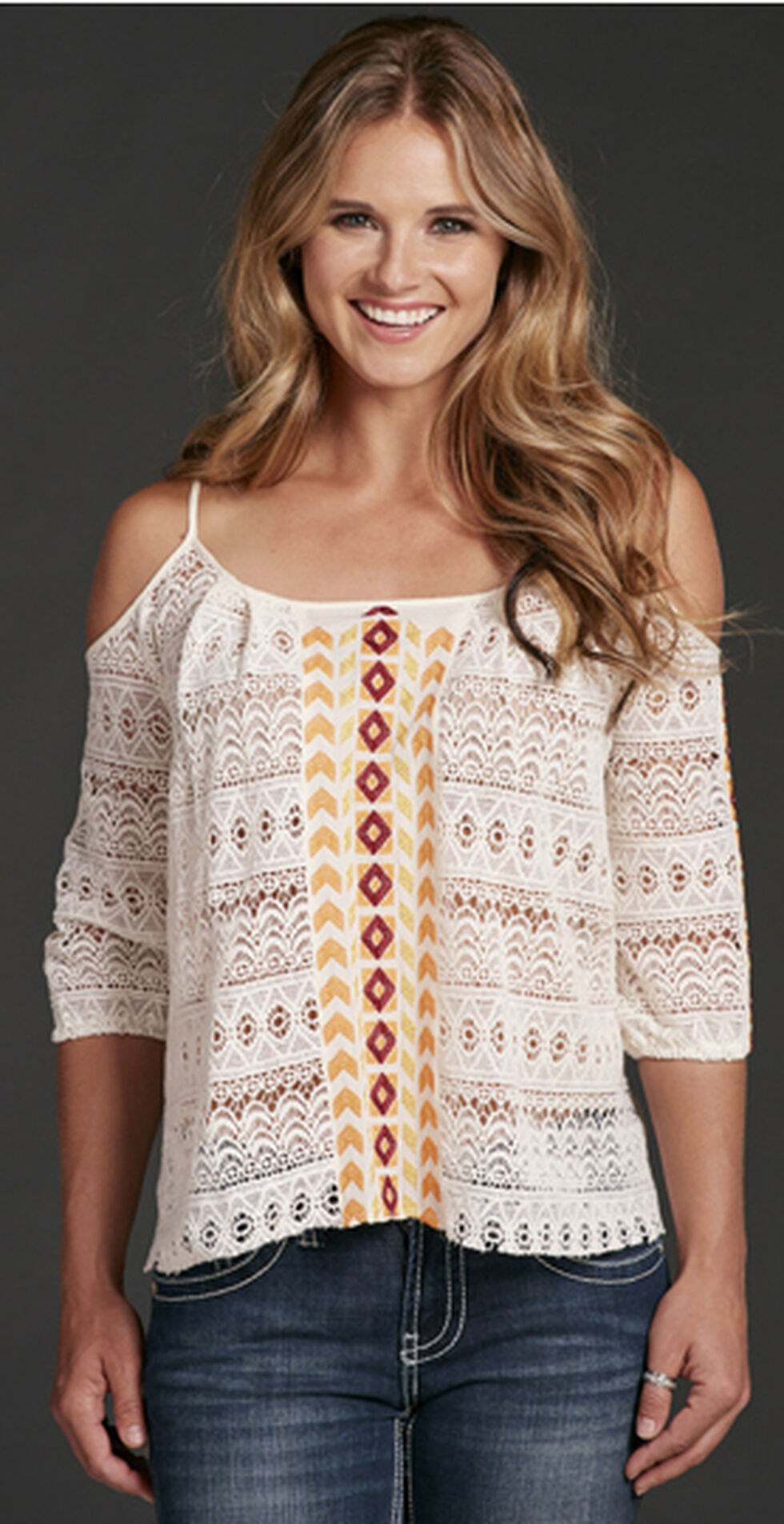 Cowgirl Up Cold Shoulder Top, White, hi-res