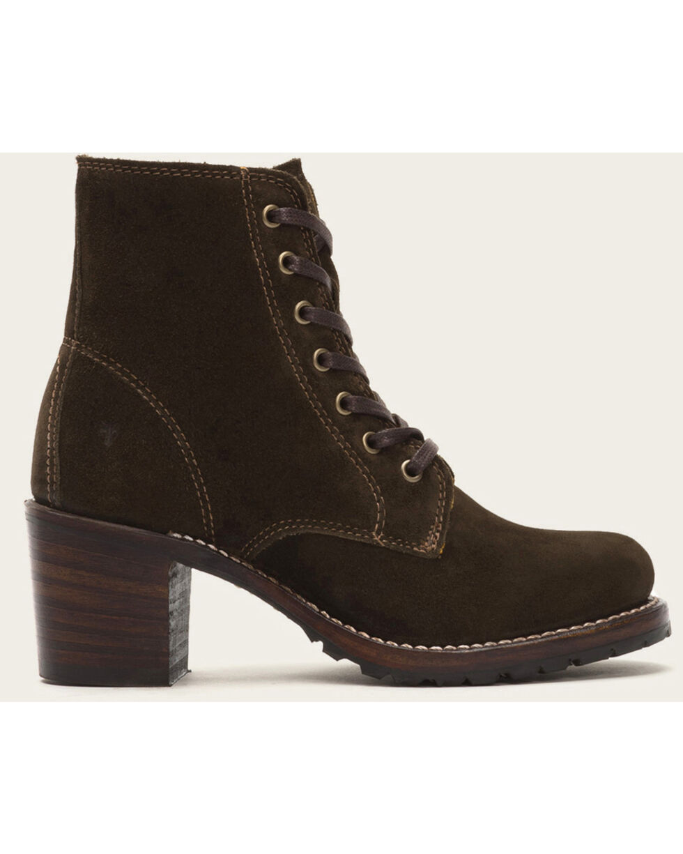 Frye Women's Brown Sabrina 6G Lace Up Boots - Round Toe , , hi-res