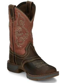 Tony Lama Burnt Orange Western Boots - Square Toe, Tan, hi-res