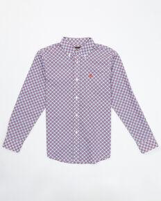Ariat Boys' Barney's Geo Print Long Sleeve Western Shirt , White, hi-res