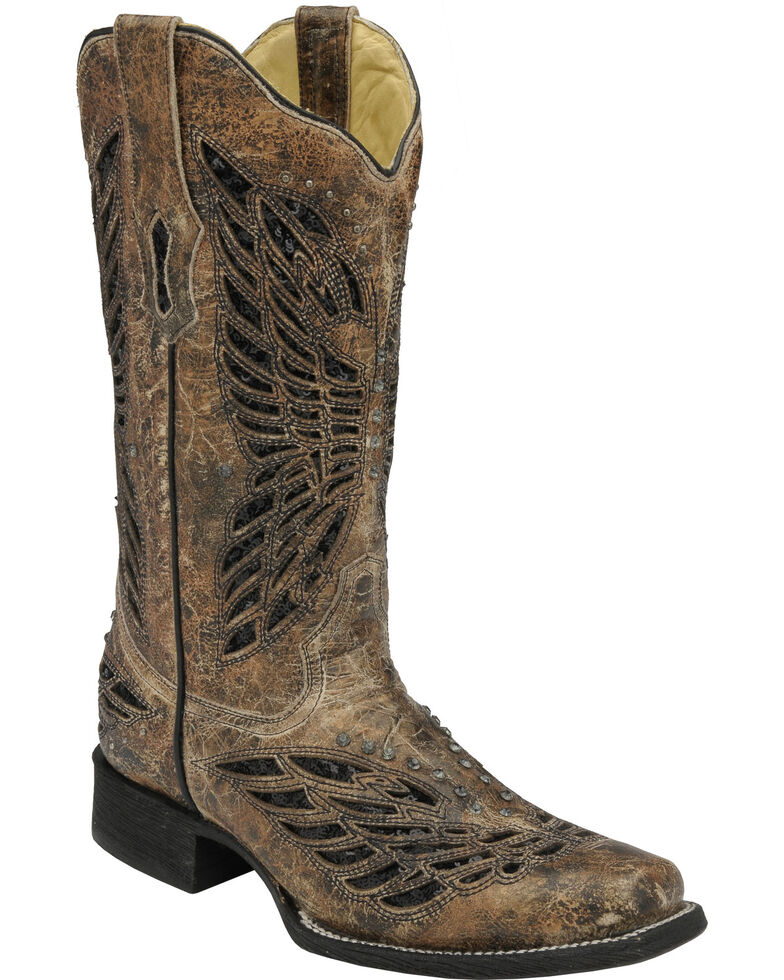 Corral Butterfly Sequin Inlay Cowgirl Boots - Square Toe, Tan, hi-res