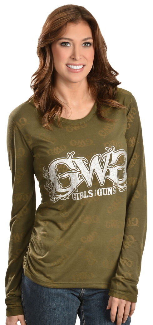 Girls with Guns Burn Out Tee, Olive, hi-res