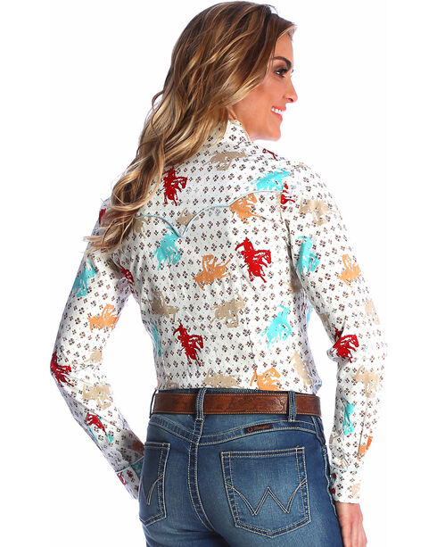 Wrangler Women's Cream Horse Print Shirt , Cream, hi-res