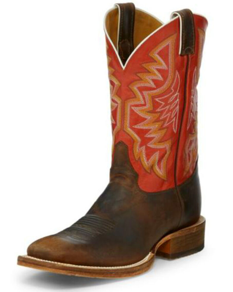 Justin Men's Caddo Stone Age Western Boots - Wide Square Toe, Tan, hi-res