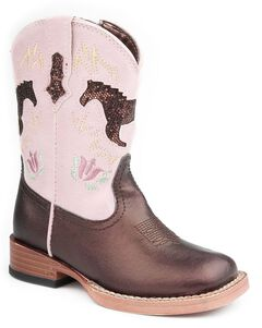 Roper Infant Girls' Brown Sparkly Horse Inlay Cowgirl Boots, Brown, hi-res