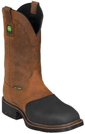 John Deere Men's Fire-Resistant Western Work Boots - Steel Toe, Bark, hi-res
