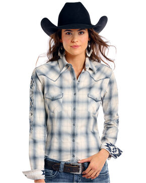 Rough Stock by Panhandle Women's Thurston Antique Plaid Long Sleeve Western Shirt , Multi, hi-res