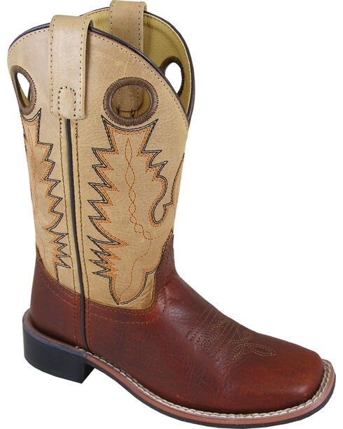 Smoky Mountain Boys' Cream Jesse Western Boots - Square Toe , Brown, hi-res