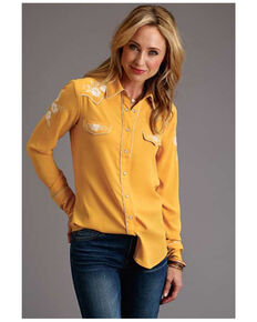 Stetson Women's Gold Floral Embroidered Long Sleeve Western Shirt , Yellow, hi-res