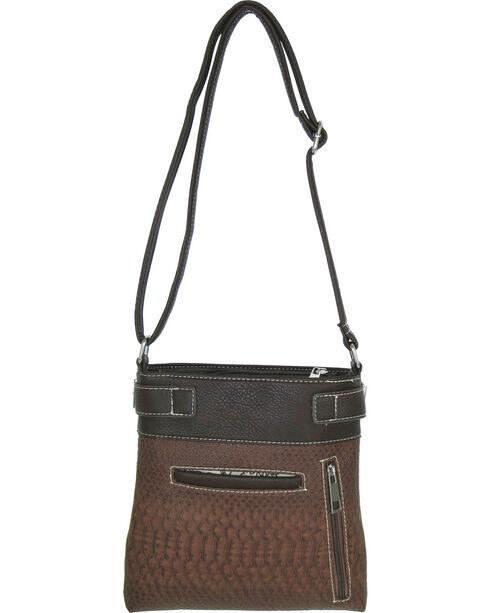 Savana Brown Snake Skin Crossbody Messenger Bag, Brown, hi-res