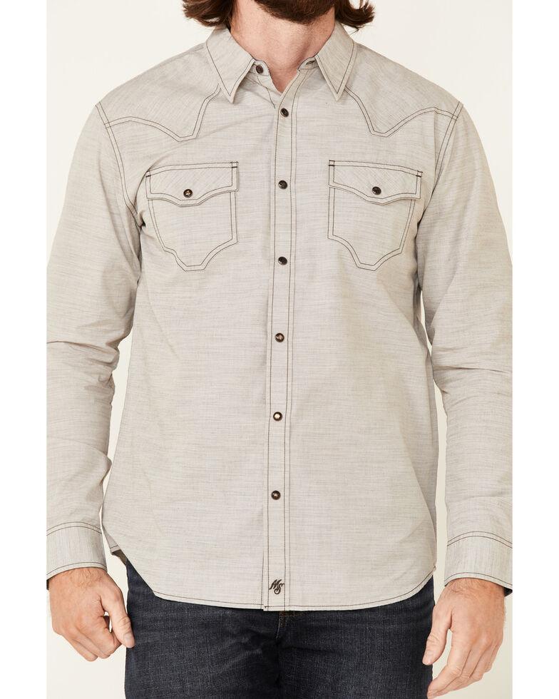 Moonshine Spirt Men's Flatlander Solid Long Sleeve Snap Western Shirt , Brown, hi-res